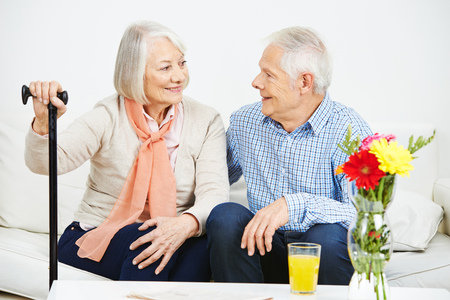 eldercare: Communication between senior man and woman at home
