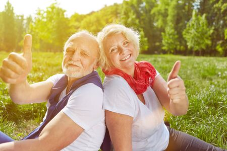 Happy senior couple holding thumbs up in summer vacation on a meadow