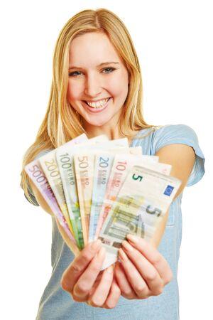 banconote euro: Giovane donna bionda con il ventilatore dei soldi euro nelle sue mani Archivio Fotografico