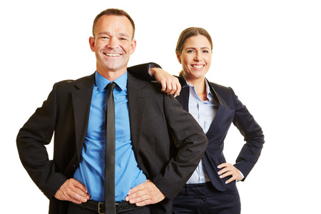 Smiling man and happy woman together as successful business team Stock Photo