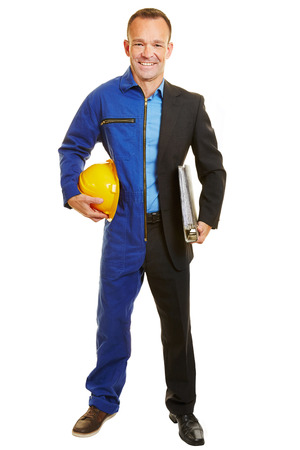 work worker: Isolated smiling man half in work clothing of construction worker and manager