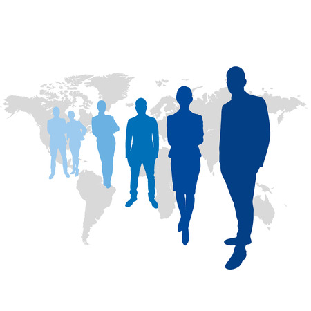 wordwide: Team leaders  in front of world map in blue Stock Photo