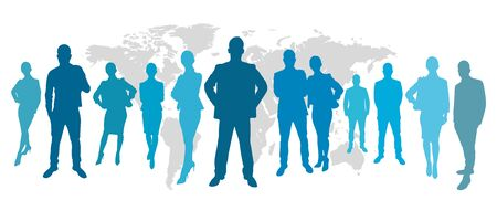 wordwide: Business people in front of a map in blue