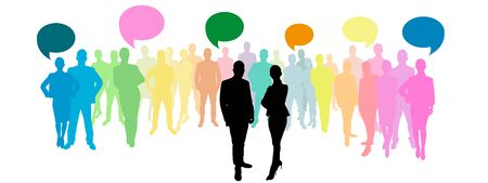 language: Business group with speech bubbles in different colours