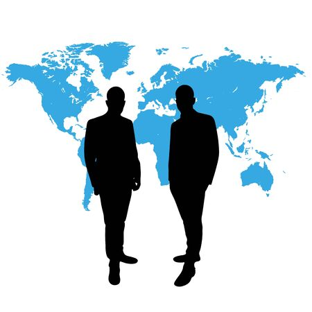wordwide: CEO in front of world map in black and blue