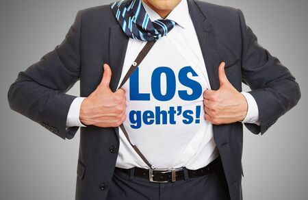 go for: German concept Los gehts (lets go) for motivation and success on shirt of manager