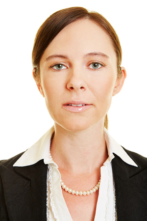 Neutral face of business woman for frontal head shot