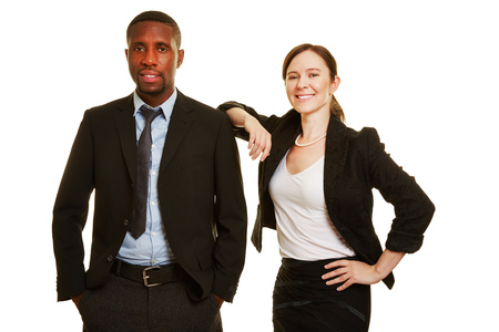 people together: African man and european business woman as businesspeople together