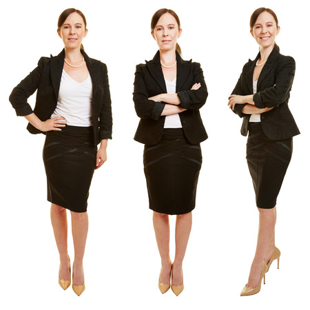 Three versions of smiling attractive business woman as full body shot
