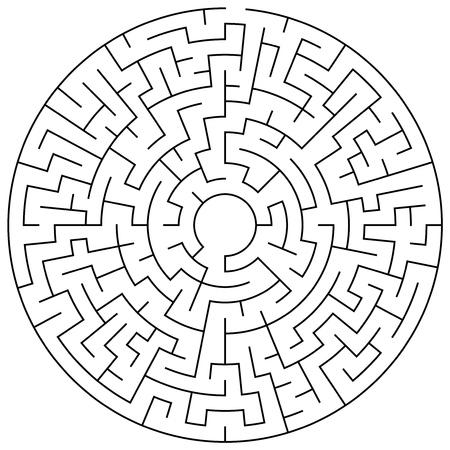 hardship: Circular maze puzzle game illustration for background or leisure time Illustration