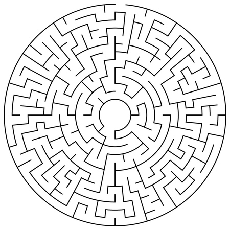 Circular maze puzzle game illustration for background or leisure time Illustration