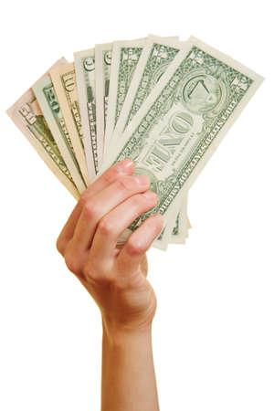 provision: Hand holding fan made of dollar bills