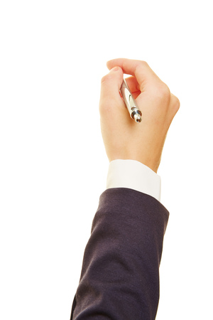 Hand of a businesswoman holding a ballpoint pen Stock Photo