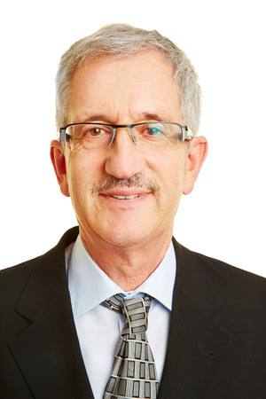senior businessman: Head shot of confident old senior manager with glasses Stock Photo