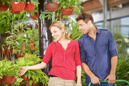 garden center: Man and woman buying plants together in a garden center Stock Photo