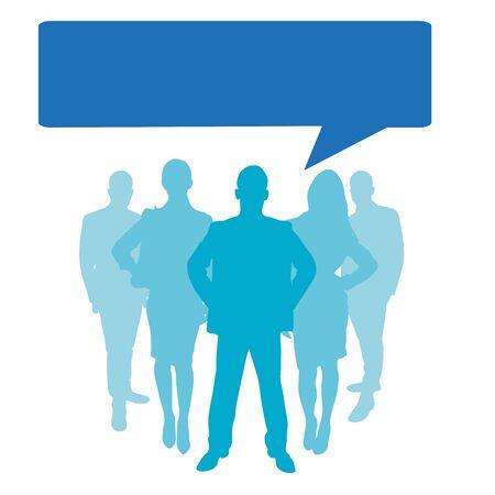 simbolo uomo donna: Gli uomini d'affari come una silhouette con il fumetto