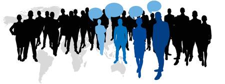 simbolo de la mujer: Director gerente y los empleados con las burbujas del discurso delante del mapa del mundo