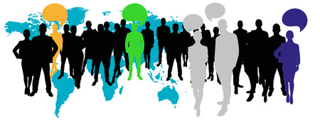 advocate: Business team with communication concept with speech bubbles in front of world map