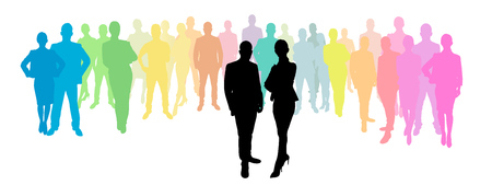 woman behind: Business group behind a business woman and business man as a silhouette