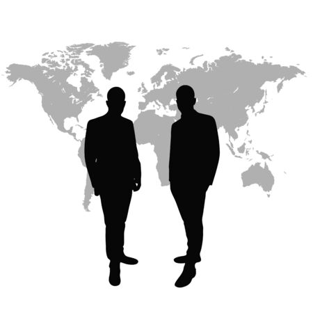 wordwide: Managing directors as silhouette in front of world map