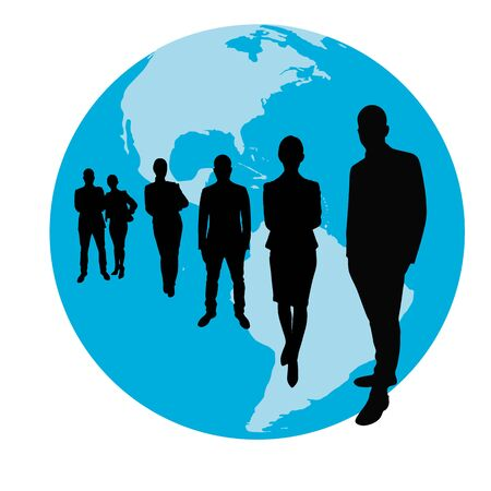 corporate team: Business team group as silhouette in front of a globe Stock Photo