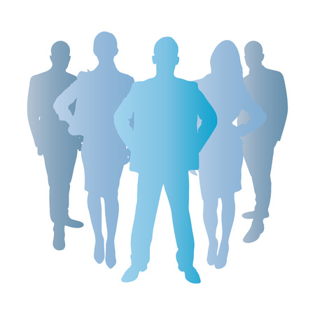 team group: Business team as a silhouette in blue as a group