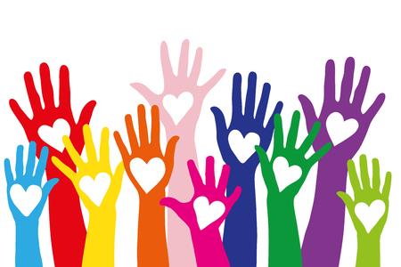 Wiele różnych kolorowych rękach symbolem miłości w kształcie serca