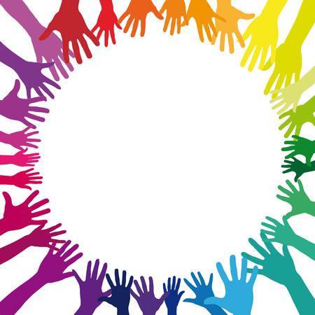 Een heleboel verschillende kleurrijke regenboog handen als een achtergrond