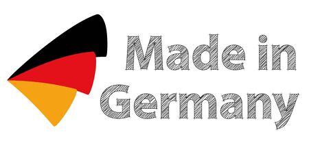 foreign trade: Made in Germany with the colors of the german flag