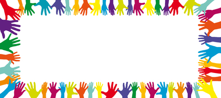 Achtergrond van een frame van een heleboel verschillende kleurrijke handen
