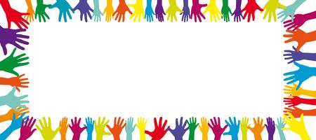 diversidad: Fondo de un marco lleno de un montón de diferentes colores manos Foto de archivo