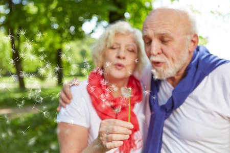 Senior couple blowing dandelion seeds together in a park