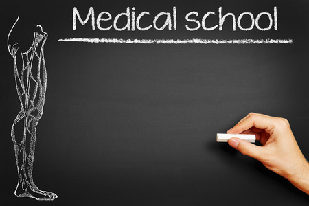 school class: Hand writing Medical school with chalk on a blackboard in class Stock Photo