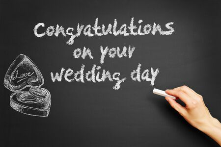 wedding wishes: Hand writes Congratulations on your wedding day on blackboard