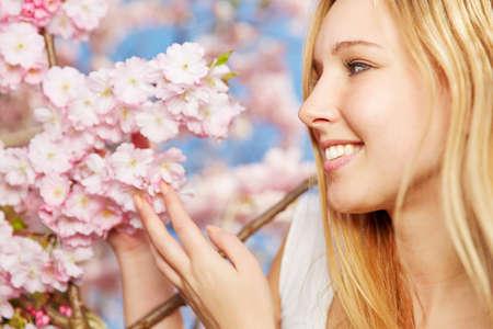 flor de cerezo: Feliz rubia mujer que goza de aroma de flores de cerezo florecientes