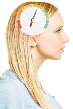 profile measurement: Woman with speedometer on brain as symbol for intelligence