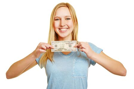 50 dollar bill: Happy woman holding 50 dollar bill in her hands Stock Photo