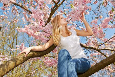 young tree: Blonde happy woman sitting on branch in a blooming cherry tree in spring