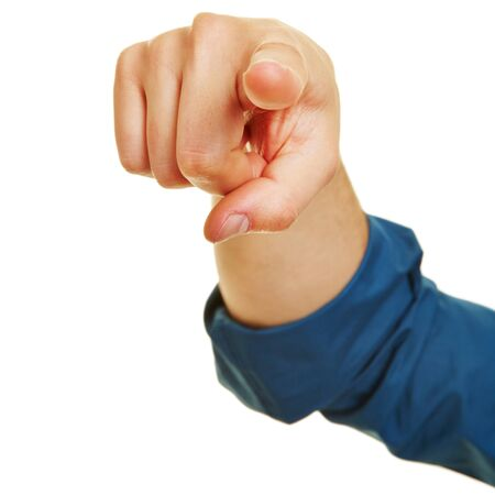 Hand pointing with index finger for motivation