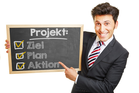 projekt: German project plan Projekt: Ziel, Plan, Aktion (Project: goal, plan, action) on a clipboard Stock Photo