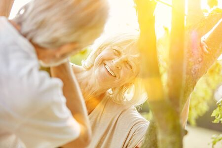 fits in: Smiling woman and man flirting in summer in the nature