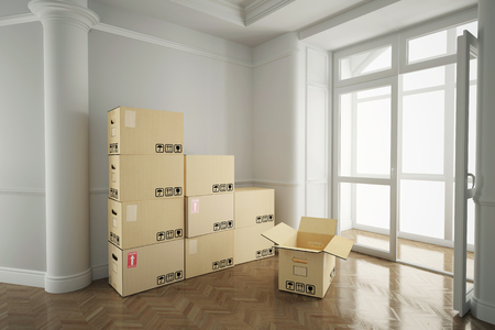 forwarding agency: Interior with moving boxes in empty white room Stock Photo
