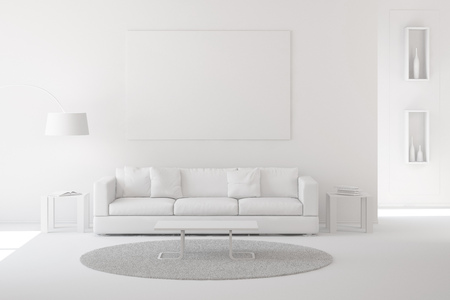 Interior of modern living room with carpet and sofa white paint