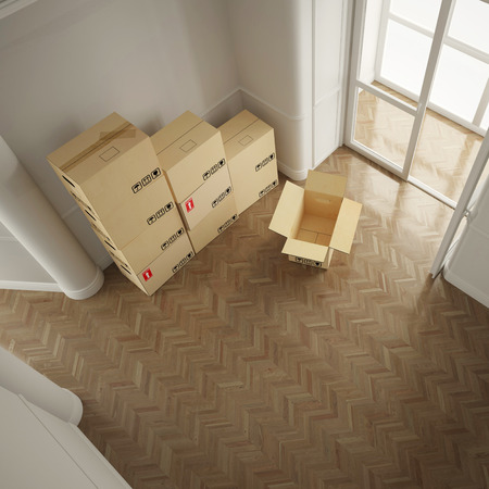 forwarding agency: Many moving boxes from above in empty white room
