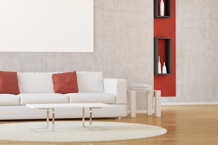 home accents: Interior of modern white living room with carpet and sofa Stock Photo