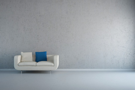 loveseat: Empty white room with leather loveseat and concrete wall Stock Photo