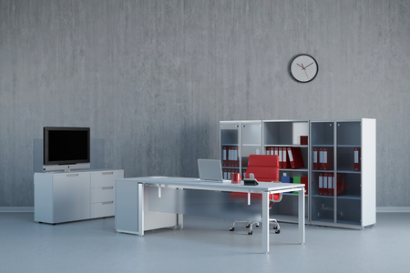 modern office: Modern office interior with business desk and furniture