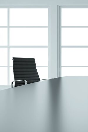 empty table: Empty office chair and table in business boardroom Stock Photo
