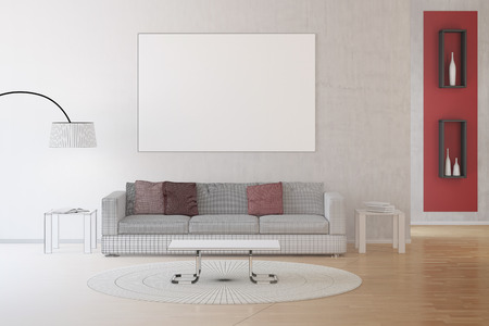 architectural rendering: CAD drawing of interior living room transforming into photo Stock Photo