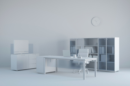 office furniture: White clean office with desk and different furniture
